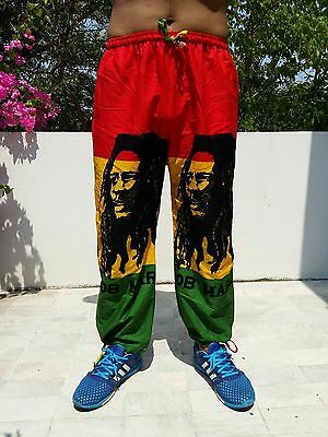 Bob Marley Rusta Jamaican Long Pants Trouser Hippy Pocket Pull Theme Clothes