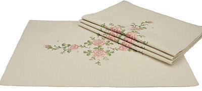 Xia Home Fashions Roses Embroidery with Hand Rendered Cutwork Placemat Set of 4
