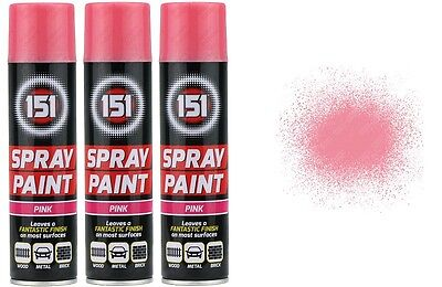 3 x Pink Gloss Aerosol Paint Spray Cars Wood Metal Walls Graffiti 300ML 151 New