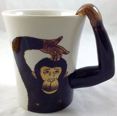 """PIER 1 Imports Monkey Hand Painted Stoneware Cup/Mug 5"""" tall w/ 3D Arm Handle"""
