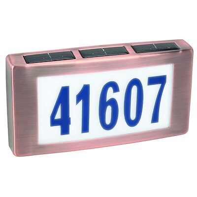 Solar LED Light House Street Address Driveway Numbers Plaque Sign Illuminated