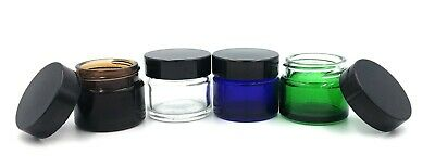 Small Glass Ointment Jar 15ml Black Lid Aromatherapy Pot - Choose Colour & Pack