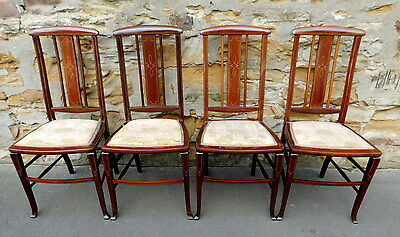 Set Of Four Edwardian Inlaid Mahogany Side Chairs