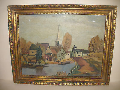19/20Th Antique Oil Painting Country Landscape Primitive  Mystery Artist Rh