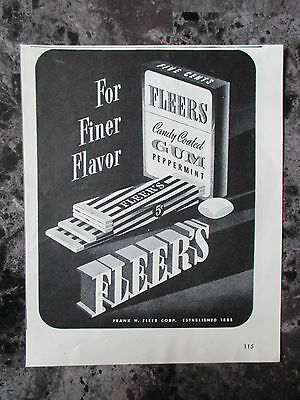 "Vintage 1944 Fleers Candy Coated Peppermint Gum Print Ad, 6.875"" X 5.5"""