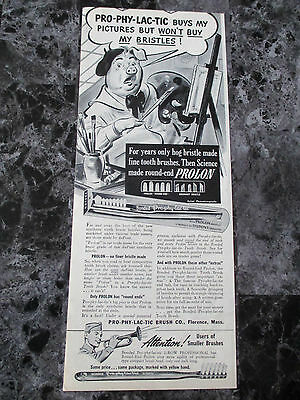 "Vintage 1944 Prophylactic Prolon Toothbrush Print Ad, 13.75"" X 5.5"""