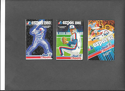 Montreal Expos 1980,1981,1982 pocket schedules lot