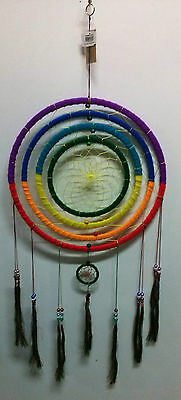 Rainbow Colored Dream Catcher w/Tassels