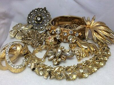 Vintage Jewelry for Repair/Parts, Steampunk, Arts/Crafts, Clear Rhinestones