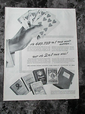 "Vintage 1944 The United States Playing Card Company Print Ad, 12.875"" X 10.25"""