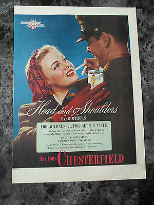 "Vintage 1944 Chesterfield Cigarettes Color Print Ad, 13.9"" X 10.1"""