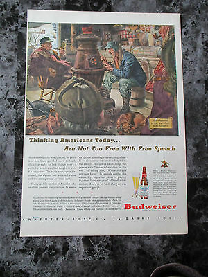"Vintage 1944 Budweiser Beer War Themed Color Print Ad, 13.9"" X 9.875"""