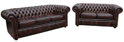 Chesterfield London English 3+2 Seater Antique Brown Leather Sofa Settee Suite