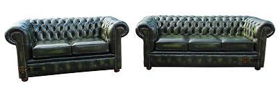Chesterfield London English 3+2 Seater Antique Green Leather Sofa Settee Suite