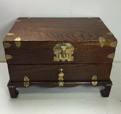 Large Vintage Oriental Asian Wood Wooden Brass 1 Drawer Jewelry Box Japan China