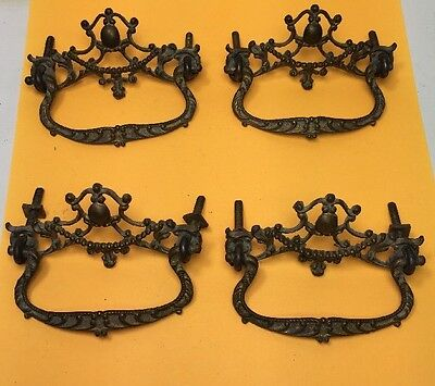 Lot of 4 Beautiful Ornate Antique Drawer Pulls Handles Hardware Complete