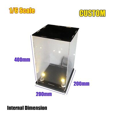 "Led Display Box Showcase 1/6 12""Protection Jewelry Toy Dustproof Clear Acrylic"