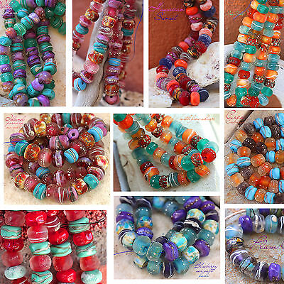 Two Strand Special Lampwork Beads Handmade Glass Art for Jewelry Design SRA
