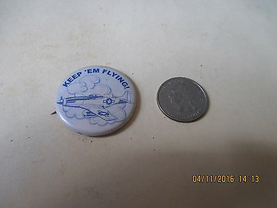 Original Wwii Homefront Rwb P-51 Mustang Keep'em Flying  Button