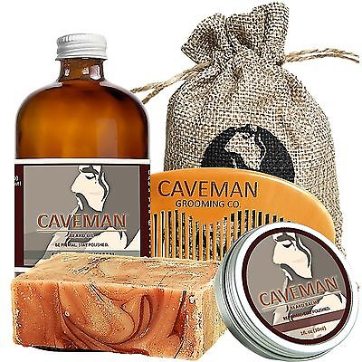 Hand Crafted Caveman® 3 Scents Manly Beard Oil Beard Conditioner Treatments, Oils & Protectors Free Comb High Quality Goods