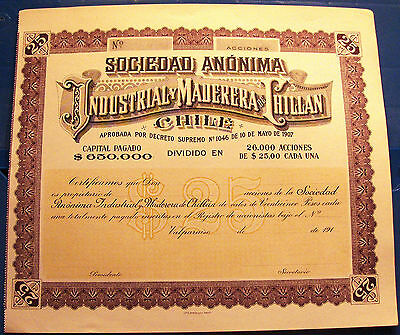 Chile  25 Pesos Bond. Society Industrial & Maderera Chillan unissued 191_
