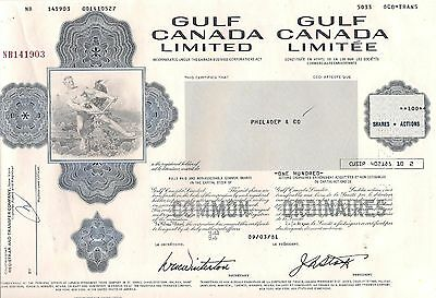 Canadian stock certificate Gulf Canada Limited issued in 1980's. Canada