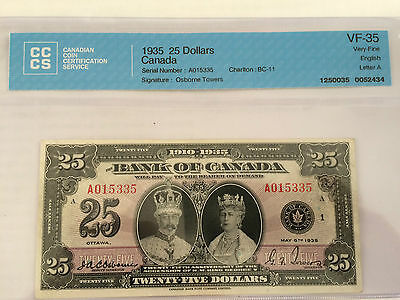 "Canada Bc-11 1935A $25 English Silver Jubilee ""king George V""  Vf-35"