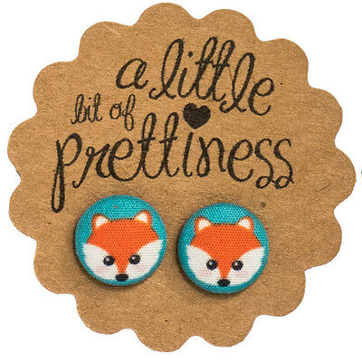 Hipster Fox Retro Earrings Fabric Covered Button Stud Earrings Surgical Stl