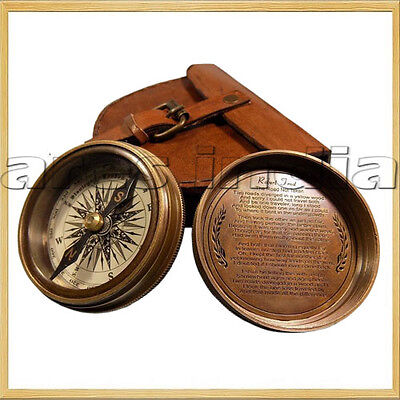 "2.3"" Antique Vintage Style Brass Pocket Compass W Leather Case Campaign''"