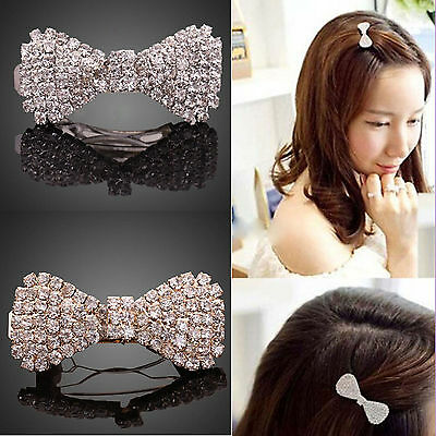 Newest Girls Hair Clip Crystal Rhinestone Fashion Bowknot Barrette Clamp Hairpin