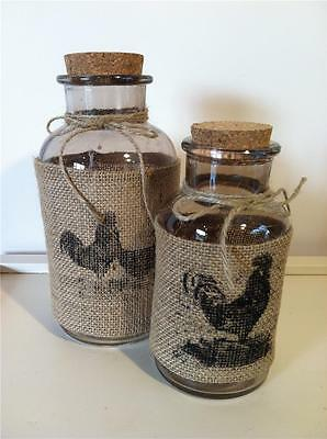 Set Of 2 Country Glass Jars* Hessian With Country Print. **new**