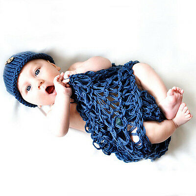 Newborn Baby Blanket Hat Set Fancy Crochet Knitted Wrap Photo Photography Props