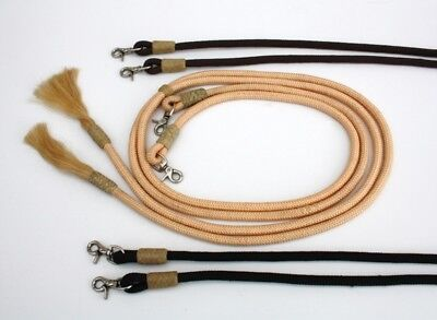 Westernzügel Poly Reins with Rawhide Braiding