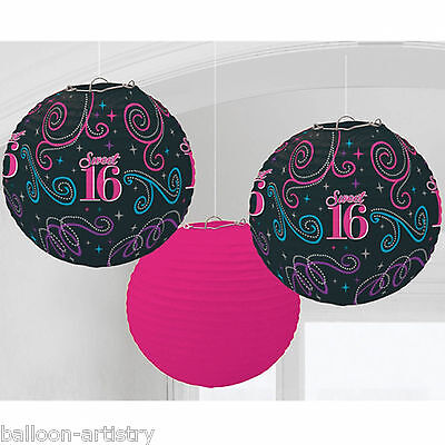 3 Classic Sweet 16 16th Birthday Party Hanging Paper Ball Lantern Decorations