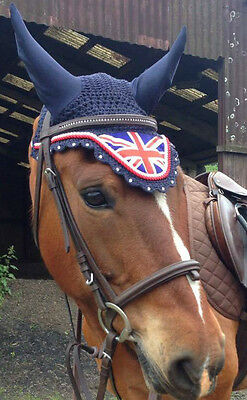 Jack Union Flag Horse Handmade Ear Bonnet/Net/Hat Crochet Fly veil  Diamante GB