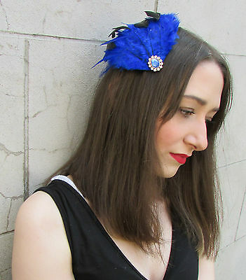 Blue Black Feather Fascinator Headpiece Vintage Silver Hair Clip Races Net Y82