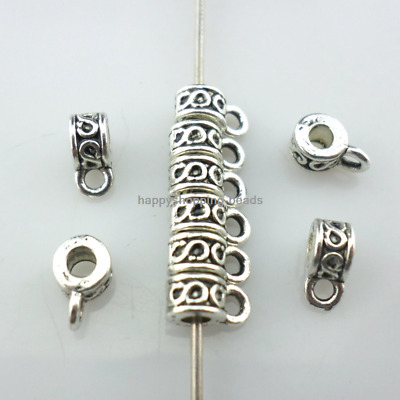 100/300pcs Tibetan Silver Connectors Charms Bails Spacer Beads 3x4x6.5mm