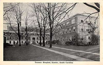 Sumter South Carolina birds eye view Toumey Hospital antique pc Z17596