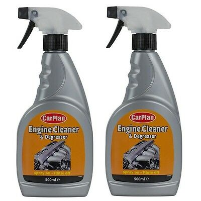 2 x CarPlan Engine Cleaner Degreaser Trigger 500ml Spray Car Grease Dirt Remover