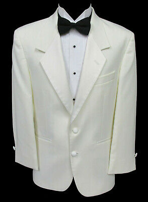 Ivory Off-White 2 Button Satin Lapel Tuxedo Dinner Jacket Wedding Cruise Mason