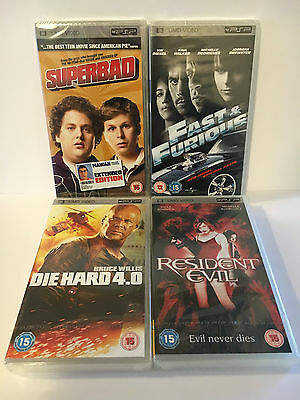 Die Hard 4.0, Resident Evil, Superbad, Fast & Furious PSP UMD Movie Film SEALED