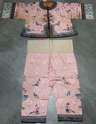 Antique Chinese Hand Embroidered Pink Silk Flowers Officials Robe Qing Dynasty