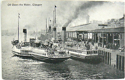 "Postcard - Ferries Leaving Glasgow Approx 1910 ""off Down The Water"""