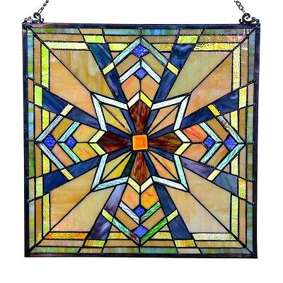 """18"""" Stained Glass Northern Star Glass Wall / Window Panel #15043 Mission Style"""