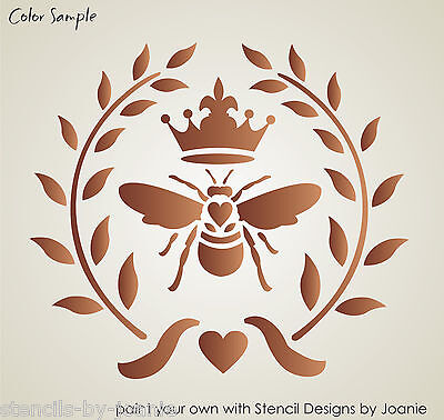 STENCIL French Bee Wreath Fleur Royal Crown Willow Circle Cottag Chic Pillow Art