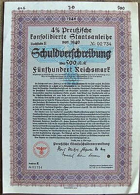 German (Prussia) war 500 Reichs Marks bond, 1940 Nazi Germany