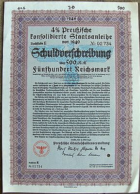 German war bond, 1940 with FV 500 ReichsMarks Nazi Germany