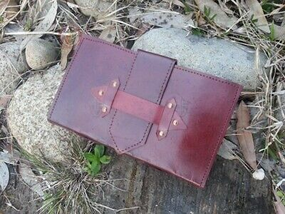 Handmade Leather Journal 22.5cm x 13cm with simple belt strap
