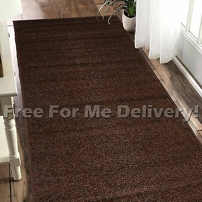 CRYSTAL PLAIN SIMPLE CHOC BROWN MODERN FLOOR RUG RUNNER 80x300cm **FREE DELIVERY