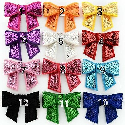 10pcs Embroidery Sequin Bow Iron-on Hotfix Patch Transfer Craft 12 Color Options